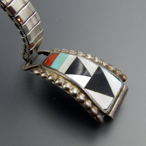Zeno, Maryann Adaaki zuni nm sterling silver inlaid watch links stretch bracelet