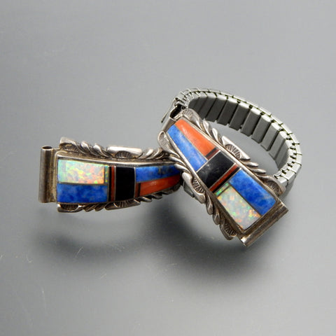 Zuni sterling silver lapis lazuli gilson opal jet inlay watch links  bracelet