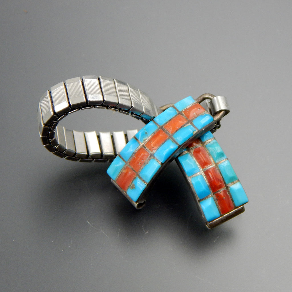 Zuni sterling silver turquoise and coral inlay stretch watch links bracelet