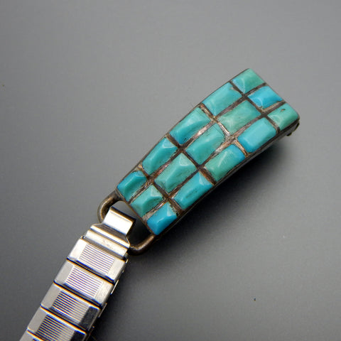 Zuni sterling silver turquoise inlay stretch watch links bracelet