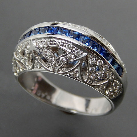 18k White gold 0.75 Ctw ceylon sapphire 0.40 Ctw diamonds dome lace design ring - size 6.25