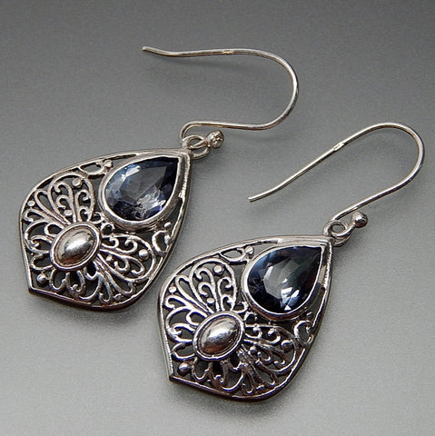 Tear Drop Shaped Blue Quartz Filigree Butterfly Droplet Dangle Hook Sterling Silver Earrings