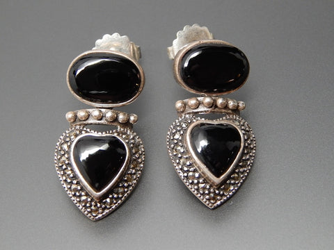 Vintage Black Onyx & Marcasite Accents Beaded Heart Sterling Silver Dangle Post Earrings
