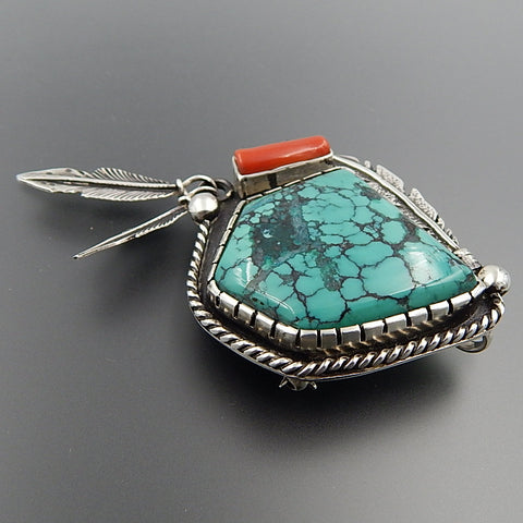Southwestern Style Sterling Silver Turquoise Coral Feathers Brooch Pin Pendant