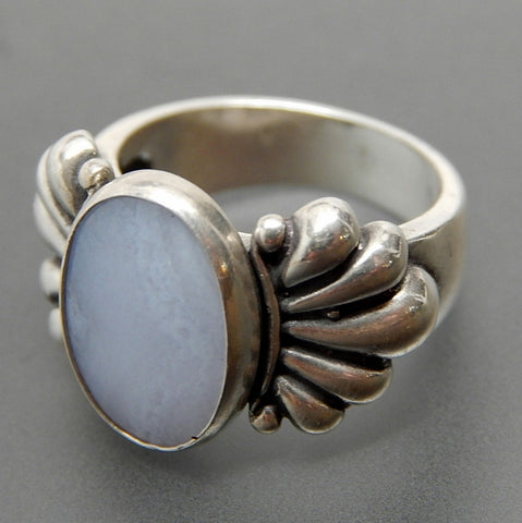 Carolyn Pollack Relios oval blue lace agate ribbed sterling silver ring - size 5.25