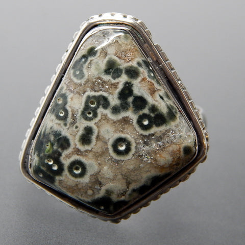 Ocean Jasper Bezel Setting Beaded Edge Modernist Sterling Silver Ring - Size 10.25