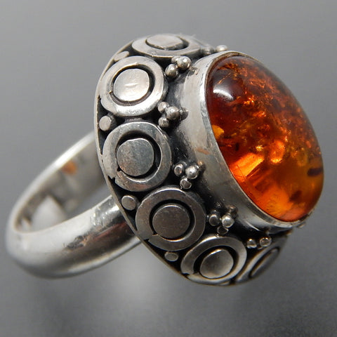 Oval Amber Circles Beads High Setting Sterling Silver Ring - Size 6