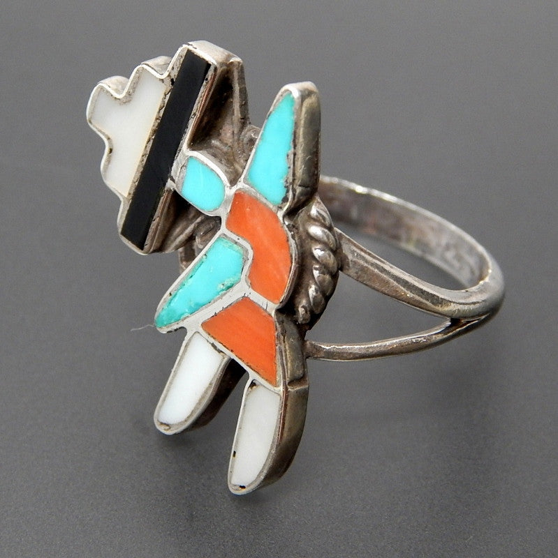 Native American Zuni Mother Of Pearl Jet Coral & Turquoise Inlay Rainbow Man Sterling Silver Ring - Size 5.5