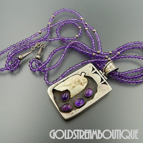 Navajo Native American sterling silver bone carved lizard amethyst shadowbox beaded 3 strand necklace 22.5""