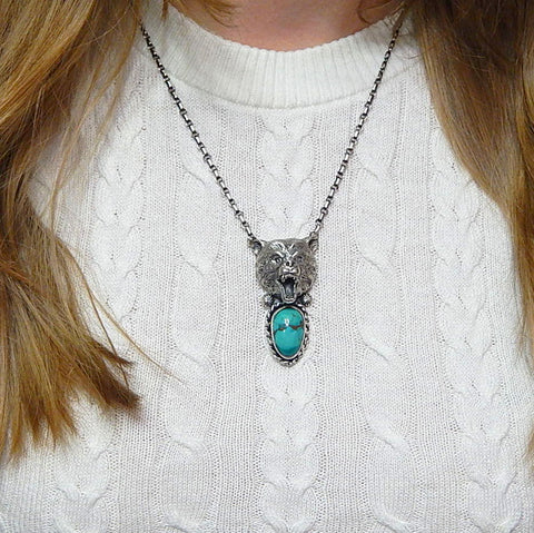 Handcrafted sterling silver american turquoise detailed bear 3D necklace 19.5""