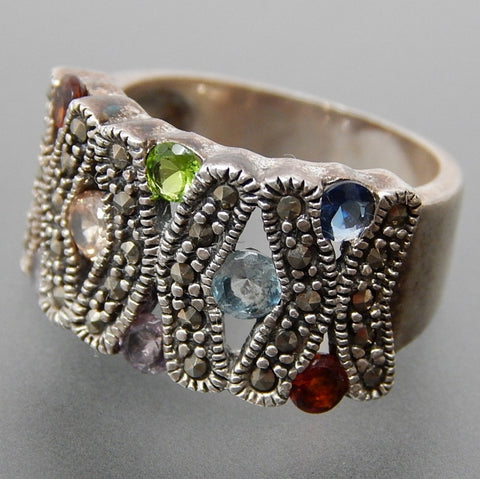 Vintage Multicolored Gem Stones Marcasite Accents X-Design Wide Sterling Silver Ring - Size 6