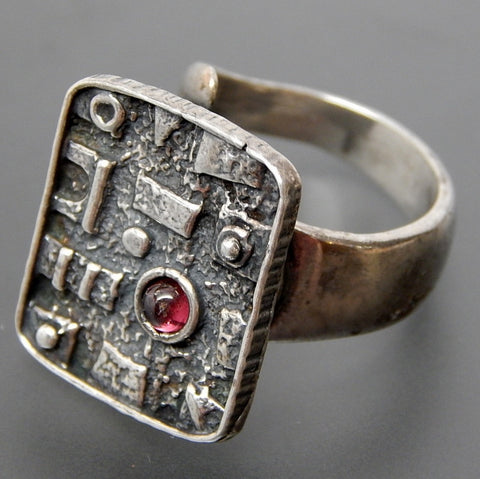 Israel Pink Tourmaline Modernist Abstract Bypass Open Shank Sterling Silver Ring - Size 6