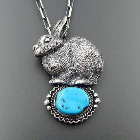 Handcrafted Sterling Silver 3D Detailed Rabbit Kingman Turquoise Brooch Pin Necklace 19""