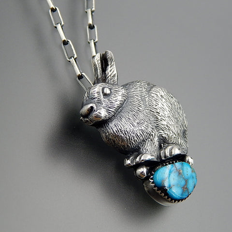 Handcrafted sterling silver 3D detailed rabbit king man turquoise brooch pin necklace 19""