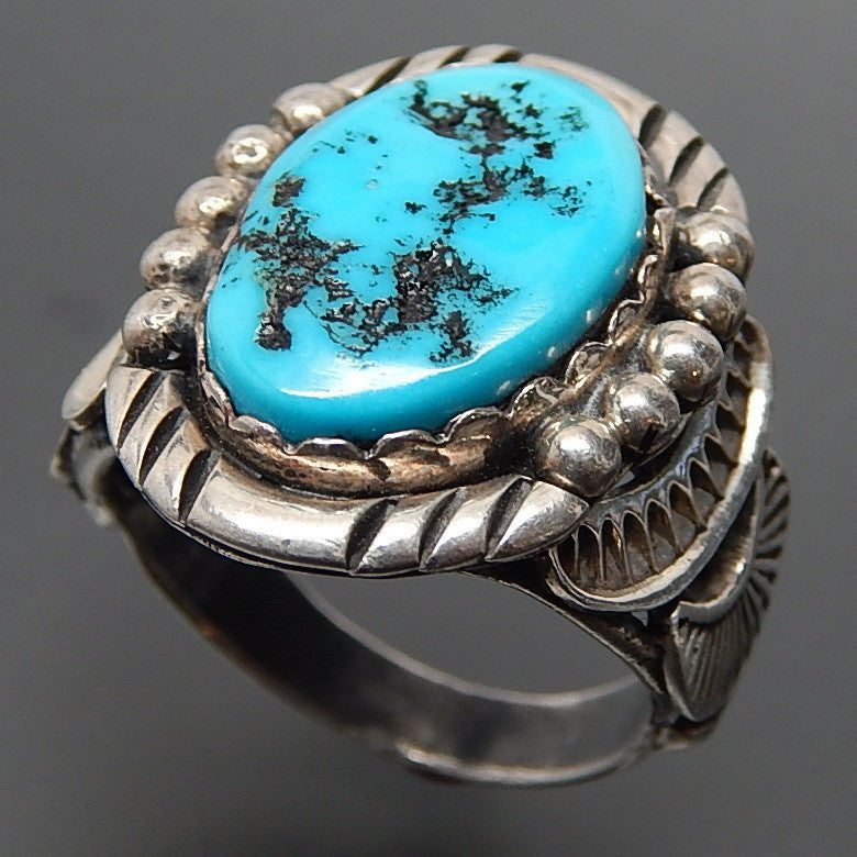 NATIVE AMERICAN NAVAJO STERLING SILVER TURQUOISE COMPLEX DESIGN ETHNIC RING - SIZE 9.75