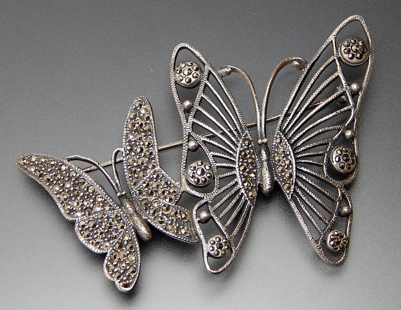 Vintage Marcasite Accents Butterflies Sterling Silver Open Design Brooch Pin