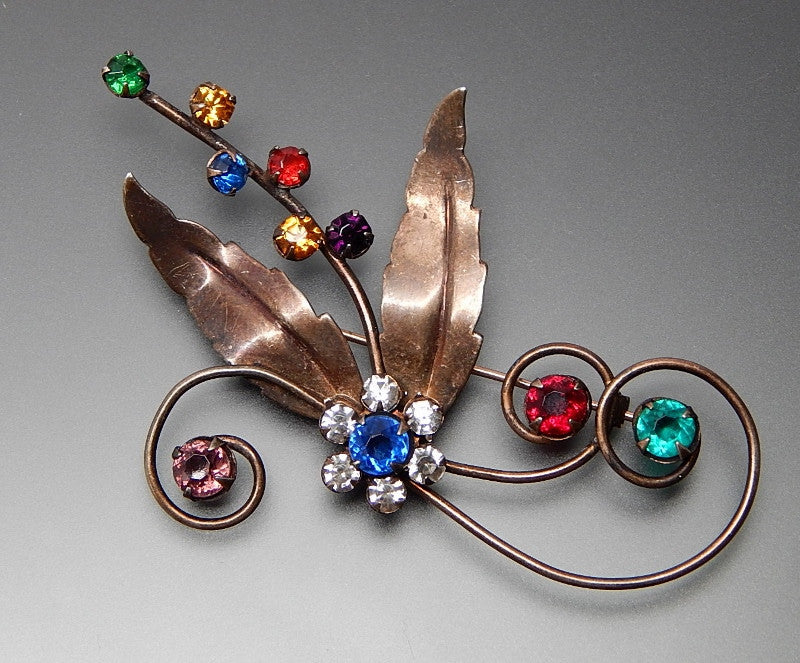 Vintage Multicolored Rhinestones Swirls Leaves Summer Flowers Sterling Silver Brooch Pin