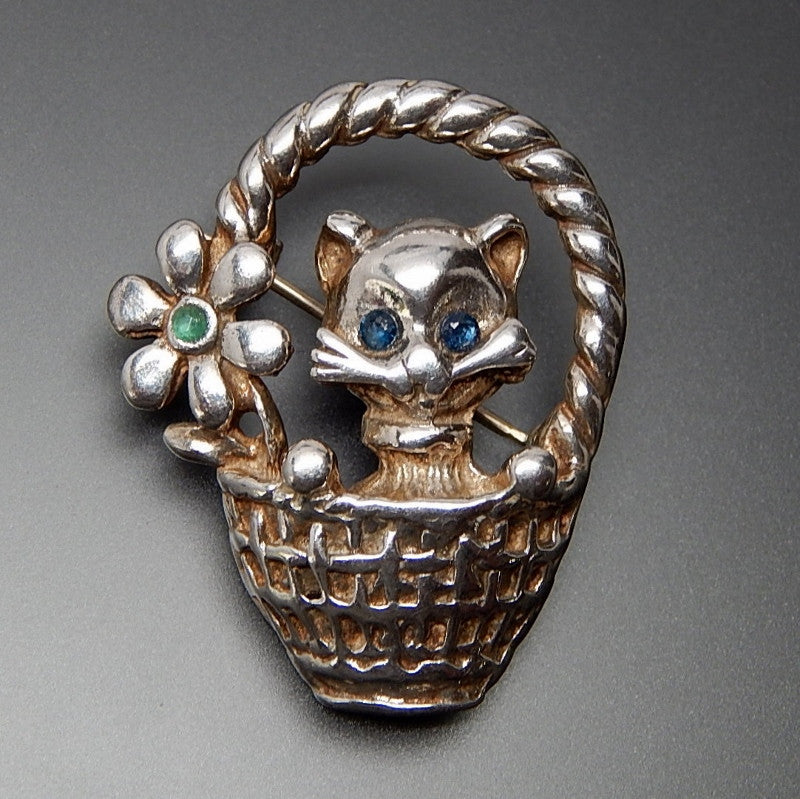 Vintage Genuine Emerald & Sapphire Accents Kitten In A Basket Sterling Silver Brooch Pin