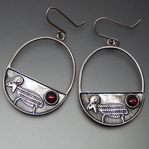 Vintage Pink Tourmaline Cabochon Sheep Sterling Silver Large Oval Hook Earrings