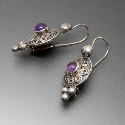 Vintage Amethyst Cabochon Swirls Beaded Sterling Silver Kidney Wire Earrings