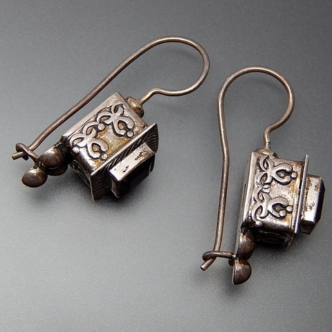 Vintage Square Smoky Topaz Complex Design Box Set Sterling Silver Kidney Wire Earrings