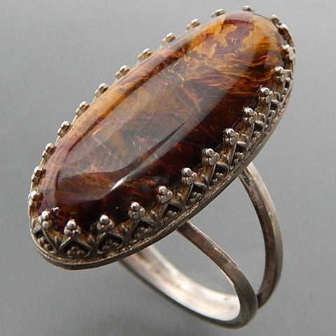 "VINTAGE OVAL PIETERSITE ORNATE SET STERLING SILVER ELONGATED ""OPEN FIRE"" RING - SIZE 8.75"