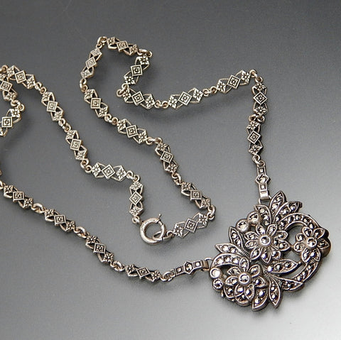 Vintage Marcasite Accents Floral Sterling Silver Necklace 16""