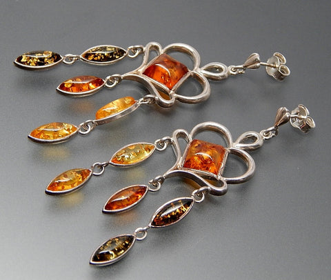 VINTAGE COLORS OF AMBER STERLING SILVER POST CHANDELIER EARRINGS