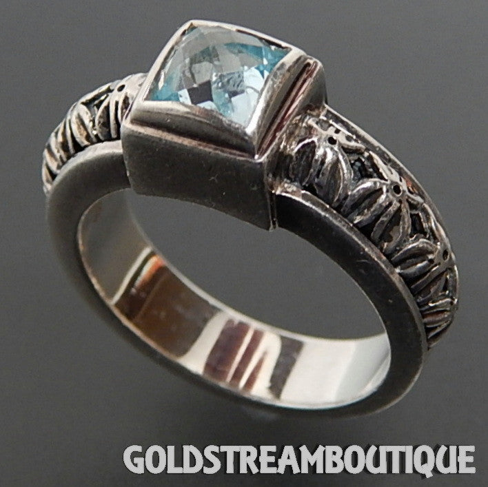 Michael Dawkins sterling silver faceted blue topaz spider pattern dome band ring size 8.75