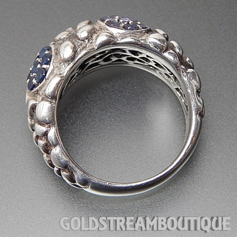 Clyde Duneier 925 silver sapphire Iolite & blue topaz bubbles darkened band ring - size 7
