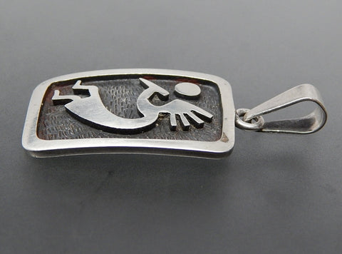 Vintage Taxco Mexico Sterling Silver Overlay Kokopelli Pendant