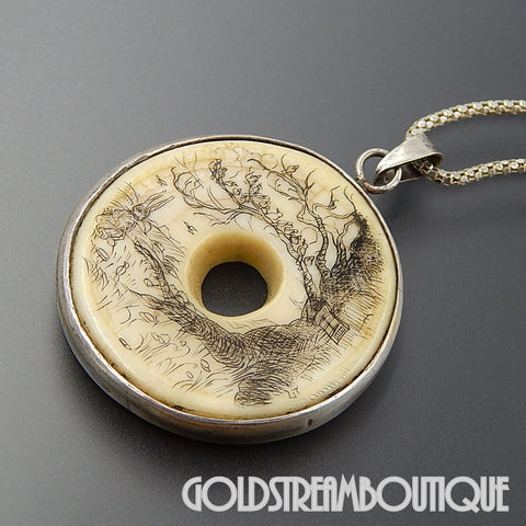 "PETER RABBIT SCRIMSHAW DONUT IVORY MEDALLION IN STERLING SILVER WITH 18"" CHAIN NECKLACE"