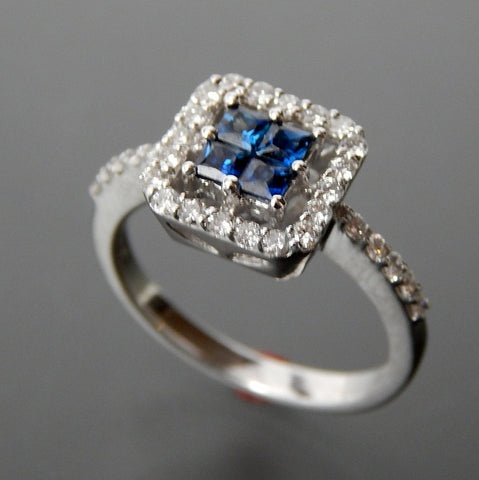 Delicate 18k white gold 0.45 ctw sapphires & 0.45 ctw diamonds square fancy set ring - size 6.5