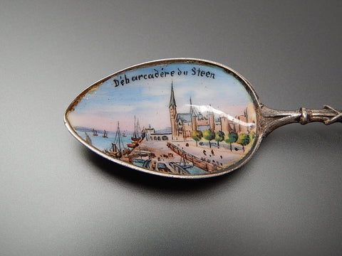 Antique Belgium Anvers Debarcadere place at Musee Du Steen silver souvenir enamel spoon
