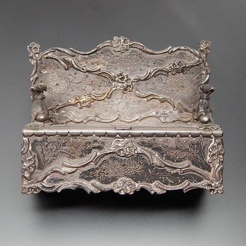 Antique French Victorian floral pattern & sitting dogs sterling silver miniature bench trinket box