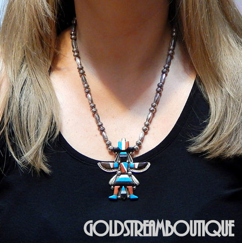 Native American Gary & Paulinis Vacit Zuni Sterling Silver Inlay Knifewing Kachina Necklace