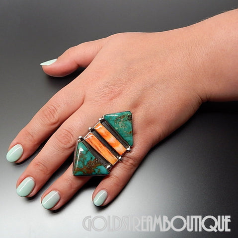 Native American Navajo Sterling Silver Turquoise Spiny Oyster Huge Arrowhead Ring - Size 7.75