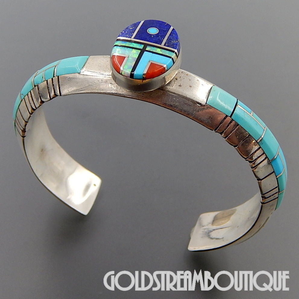 Vintage Native American Chester Benalli Navajo Sterling Silver Turquoise Gemstone Inlay Ethnic Cuff Bracelet