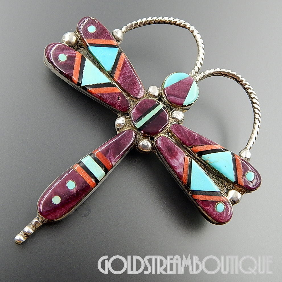 Dee Brown navajo native american sterling silver spiny oyster turquoise inlay dragonfly pendant pin combo