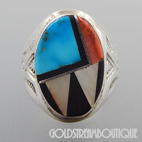 Native American Signed RBL Zuni Sterling Silver Multi Stone Inlay Ring - Size 9.75