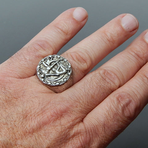 "Vintage Handcrafted ""Adam And Eve"" Sterling Silver Solid Signet Unisex Ring - Size 8.25"