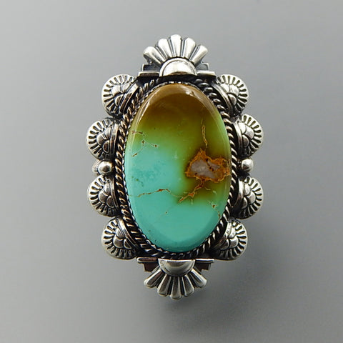 Handcrafted american turquoise sterling silver solid oval ring - size 9