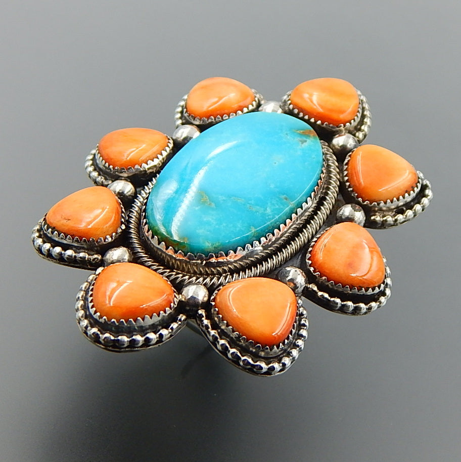 Handcrafted american turquoise spiny oyster sterling silver huge cluster ring - size 9.25