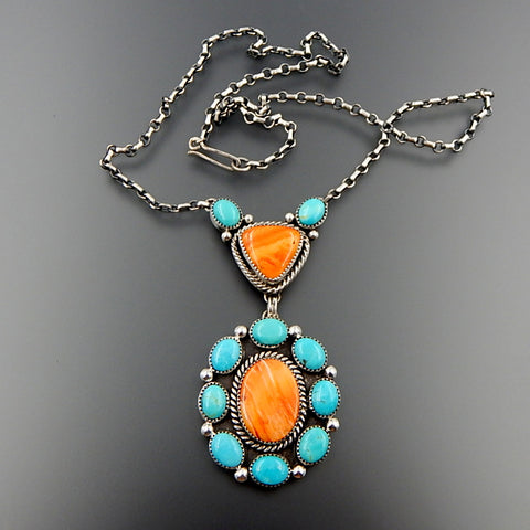 Handcrafted sterling silver american turquoise spiny oyster cluster dangle necklace 20.5""