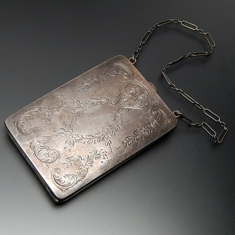 Antique circa 1920 Shmitz, Moore & Co sterling silver lady's coin purse wrist chain card case dance purse compact with mirror
