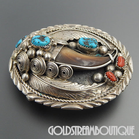 Native American Emery Yazzie Navajo sterling silver turquoise coral bear claw oval belt buckle #2