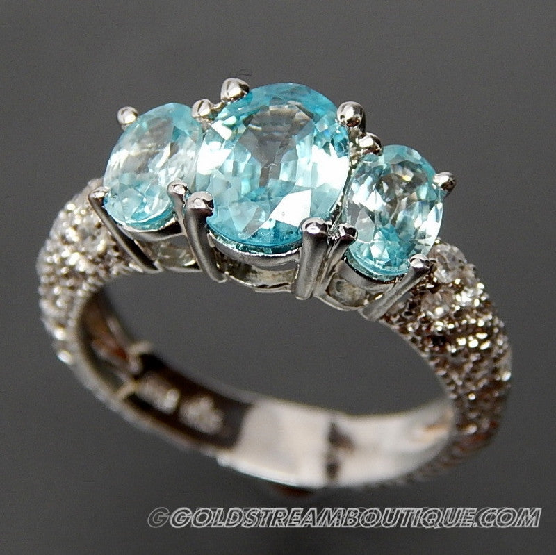Oval Sky Blue Topaz & Round White Topaz Accents Ornate Shank Fancy Setting Sterling Silver Ring - Size 5.75