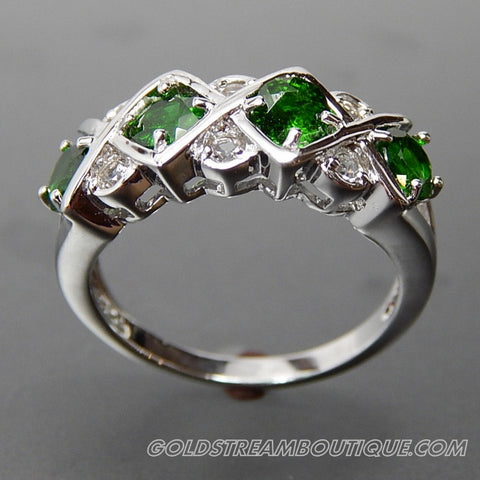 Round Chrome Diopside & Round White Topaz Sterling Silver Fancy Band Ring - Size 8