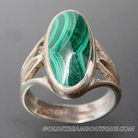 Oval Malachite Inlay Split Fancy Shank Sterling Silver Elongated Ring - Size 6
