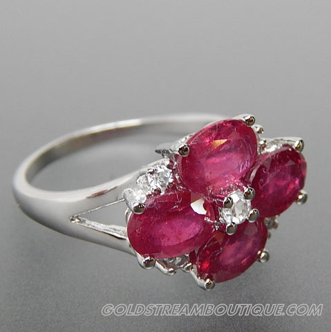 Oval Ruby & Round White Topaz Flower Shiny Finish Sterling Silver Ring - Size 7